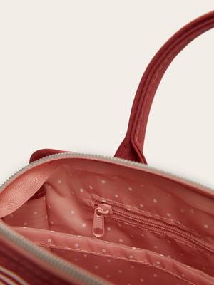Косметичка червона в смужку | 5485749