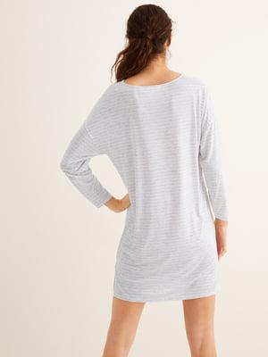 Сорочка нічна сіра в смужку і принт | 5485755