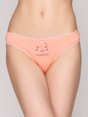 Трусы персикового цвета с принтом | 5487183