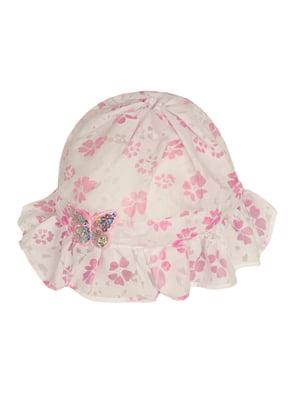 Панамка біло-рожева з малюнком і принтом | 5487423