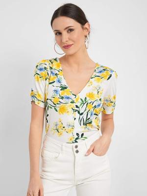 Блуза біла з квітковим принтом   5488454