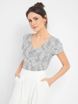 Блуза біла в принт | 5488457