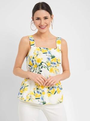 Блуза біла в квітковий принт | 5488487