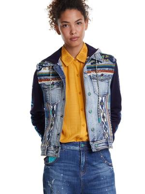 Куртка синя з декором | 5488529