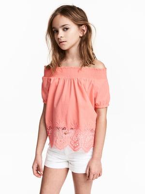 Блуза персикового цвета с узором   5489426