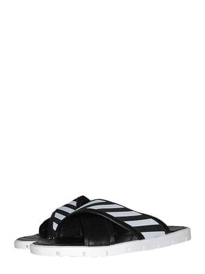 Шльопанці чорно-білі зі смужкою | 5488028
