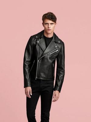 Куртка шкіряна чорна | 5490443