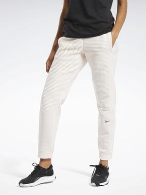 Штани кремового кольору з логотипом | 5489979