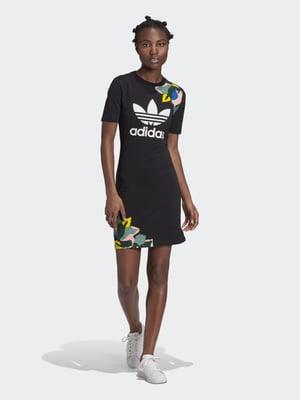 Платье черное с логотипом и принтом | 5490220