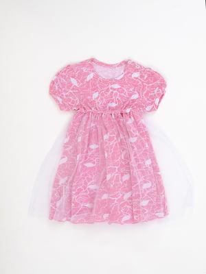 Сукня рожева з принтом | 5490100
