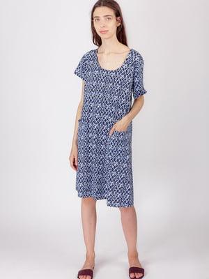 Платье синее в принт | 5490769