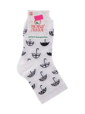 Шкарпетки білі в принт | 5491545