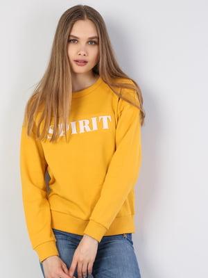 Свитшот желтый с принтом | 5494176
