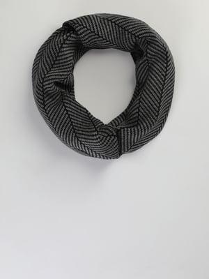 Шарф сіро-чорний з малюнком | 5494501