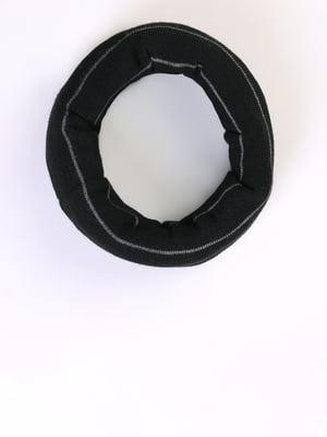 Шарф-хомут чорний в смужку | 5494508