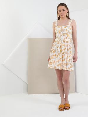 Сукня біла з принтом | 5494935