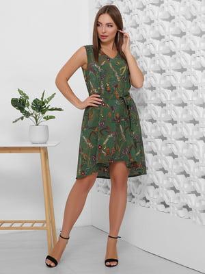 Платье зеленое с принтом | 5491895