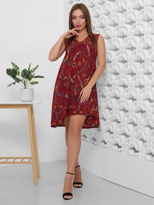 Платье бордовое с принтом | 5491896