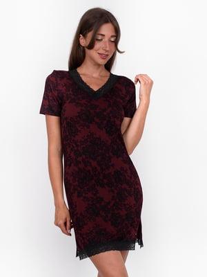 Сукня бордова з квітковим візерунком | 5495408