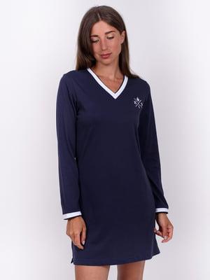 Сукня синя з нашивкою | 5495456