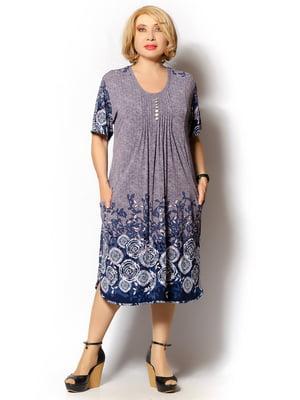 Сукня сіро-синя з принтом | 5496545