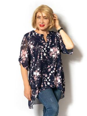 Блуза синяя с цветочным принтом | 5496548