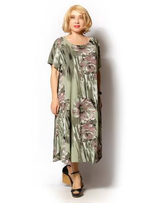Платье оливкового цвета с цветочным принтом   5496549