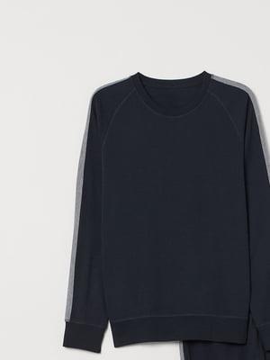 Світшот піжамний синій зі смугою | 5497289