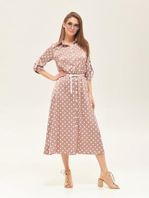 Сукня кольору капучино у горошок | 5497513