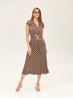 Сукня кольору шоколаду у горошок | 5497516