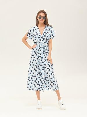 Платье голубое в горошек | 5497523
