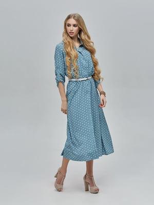 Платье бирюзовое в горошек | 5497514