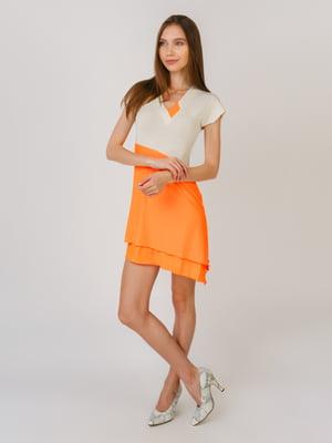 Сукня бежево — помаранчева | 5491828