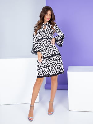Сукня чорно-біла в горох | 5284604