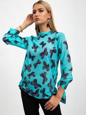 Блуза зеленая в принт | 5500890