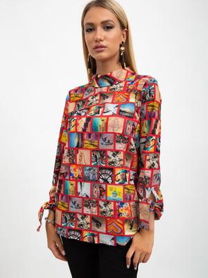 Блуза красного цвета в принт | 5500892