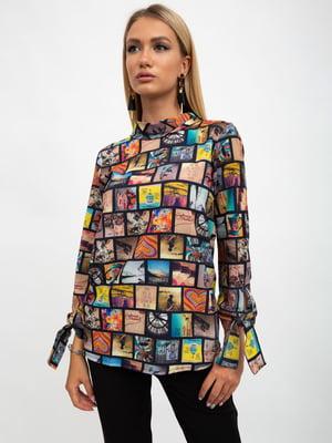 Блуза черная в принт | 5500894