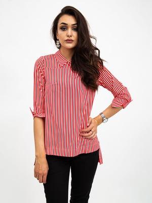 Блуза красно-белая в полоску | 5500920