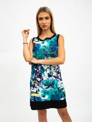 Платье черно-зеленое в принт | 5501022