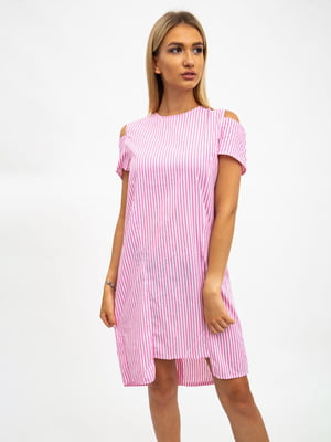 Платье розово-белое в полоску | 5501038