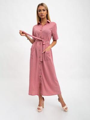 Платье цвета пудры в полоску | 5501046