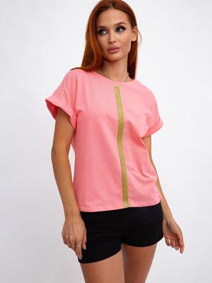 Футболка рожева зі смужкою | 5501107