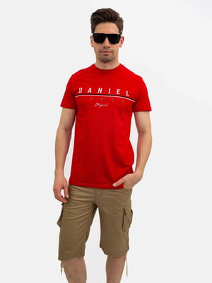 Футболка червона з принтом | 5501131