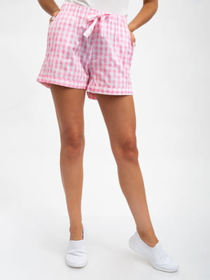 Шорти біло-рожеві в клітинку | 5501145