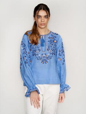 Вышиванка голубая с цветами - УкрГламур - 5501357
