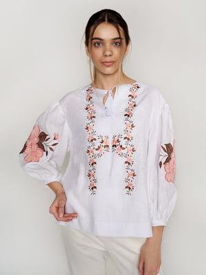 Вышиванка белая с цветами - УкрГламур - 5501359