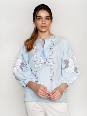 Вышиванка голубая с цветами - УкрГламур - 5501360