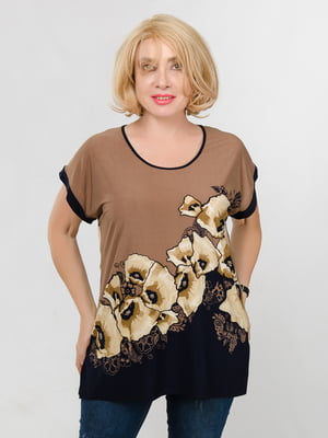 Блуза двухцветная с принтом | 5501407