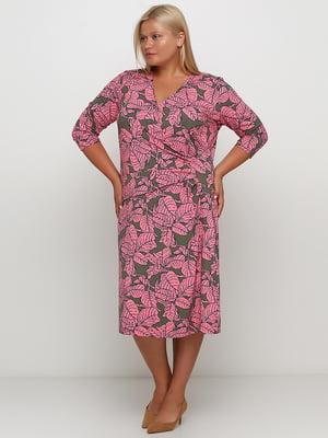 Сукня двокольорова з принтом | 5501687