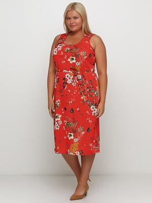 Платье красное с цветочным принтом   5501696